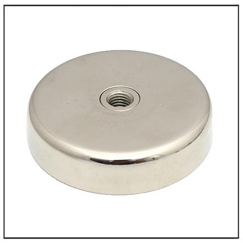 Neodymium Flat Cup Magnet w M8 Metric Internal Threaded Hole